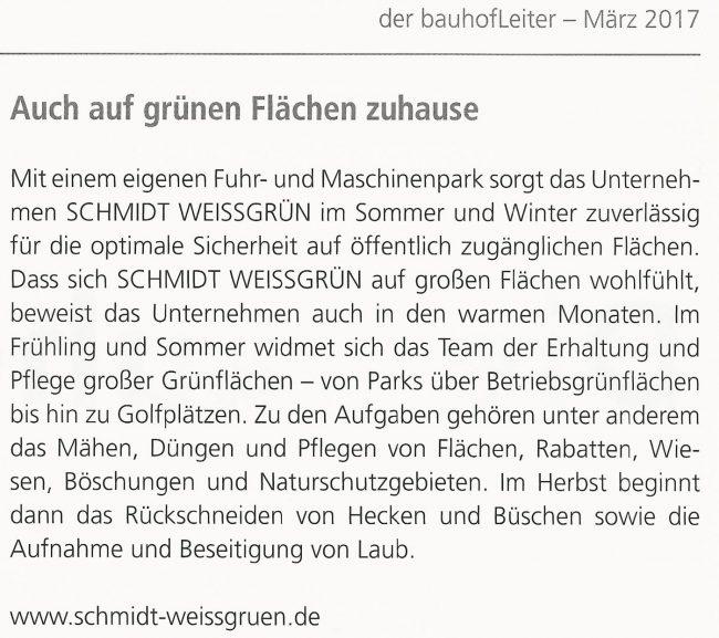 SchmidtWeissGrün in der Fachzeitschrift der bauhofLeiter